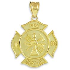 Solid 14k Yellow Gold FD Medal-Style Badge Rescue Firefighter Pendant. St. Florian medal-style firefighter charm pendant with a solid badge Maltese cross motif. finely crafted with genuine 14 karat yellow gold in perfect polished finish (2.00 grams). comes with free special gift packaging. made in the USA yet offered at factory-direct jewelry price. ships within 24 hours from the manufacturer directly to the customers themselves.