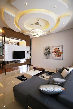 Need living room design ideas for your home? These Malaysian living room designs will make you want to stay in your living room forever. Drawing Room Ceiling Design, Pvc Ceiling Design, Plaster Ceiling Design, Interior Ceiling Design, Bedroom False Ceiling Design, Living Room Partition Design, Ceiling Design Living Room, Home Room Design, Room Partition Designs