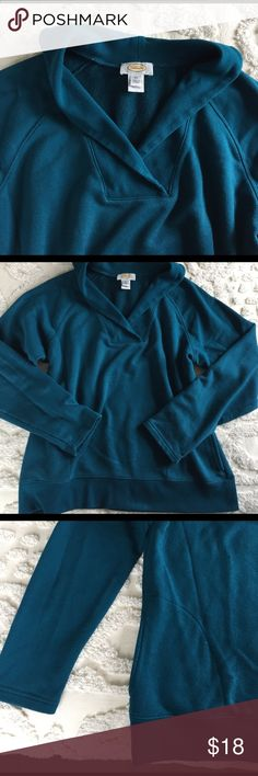 🌺BIG SALE!🌺 Shawl collar pullover sweatshirt Teal cotton/poly blend, super comfy, on-seam pockets, long sleeves. Talbots Tops Sweatshirts & Hoodies