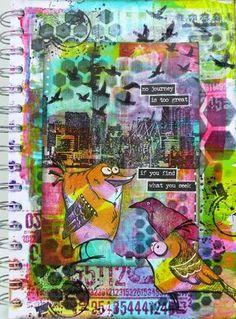 Tim Holtz Crazy Birds make me crazy too...Art Journal and a skinny
