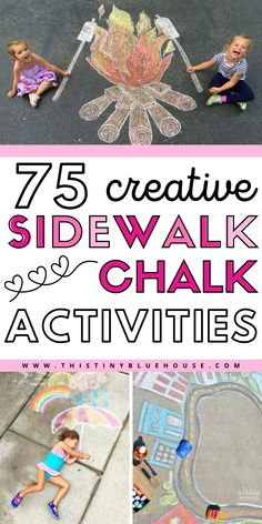 Here are fun sidewalk chalk art ideas for kids. These creative chalk art ideas are a great way to enjoy spring and summer days outdoors! Summer Activities For Kids, Summer Kids, Preschool Activities, Projects For Kids, Art Projects, Crafty Projects, Sidewalk Chalk Art, Fathers Day Crafts, Toddler Fun