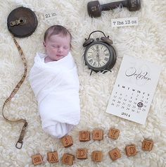 Great idea to remember the birth of a little one. Baby and birthday, time weight and measurements