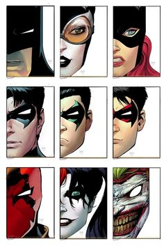 Bat-people. Batman, Catwoman, Batgirl, Robins(Richard Grayson, Damian Wayne, Tim Drake), Red Hood(Jason Todd), Harley, Joker