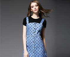 Fashion Short Sleeve Black Color T-Shirt Denim Strap Dress Two-Piece Set http://www.fashion-wholesaler.com/women-clothing-set-c-10700/fashion-short-sleeve-black-color-tshirt-denim-strap-dress-twopiece-set-p-2246.html
