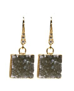 Grey Druzy Earrings with 24 Karat Gold and Pave by IsabellaandMax, $60.00