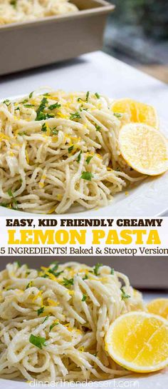 Creamy Parmesan Lemon Baked Pasta made with just 5 ingredients (plus salt, peppe., Parmesan Lemon Baked Pasta made with just 5 ingredients (plus salt, pepper and olive oil)! Crispy on top and creamy inside with fresh lemon jui. Pasta With Lemon Sauce, Lemon Chicken Pasta, Lemon Pasta, Fresh Pasta, Lemon Spaghetti, Pasta With Olives, 5 Ingredient Dinners, 5 Ingredient Recipes, Vegetarian Recipes