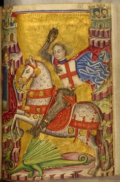 Saint George Killing the Dragon,  Zanino Di Pietro,  mid 15th century (before 1463), ink, color and gold on parchment   Walters Art Museum