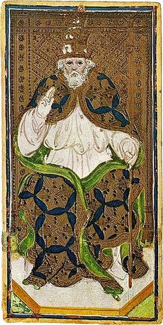 The Pope card from the Visconti-Sforza Tarot deck. Ca. 1450.