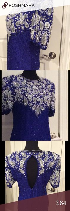 STENAY 100% silk Hand beaded made in India size 8 This vintage STENAY is absolutely beautiful. All hand Beaded crystals, beads and pearls. Like New Condition. 100 % silk with Polyester lining.  Stunning and classy, yet sexy and fun. A must have for your collection. Thank you for shopping with Boutique Treasures 🌸 Carla STENAY Dresses Midi