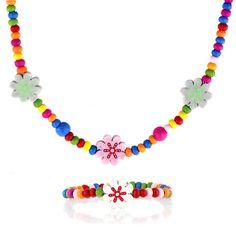 Multicolor Wooden Flower Necklace and Bracelet Set
