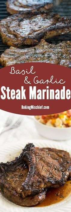 Basil and garlic mixed with olive oil, lemon juice, and Worcestershire sauce make the perfect steak marinade for summer (and winter) grilling. From http://BakingMischief.com