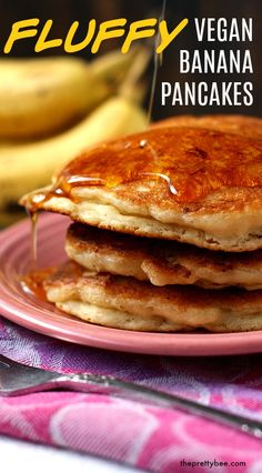 Even non-vegans LOVE these fluffy banana pancakes! Enjoy these vegan banana pancakes with some vegan buttery spread and warm maple syrup. Get all my tips on how to make the perfect stack of pancakes! #pancakes #vegan #banana Egg Recipes For Breakfast, Free Breakfast, Vegan Banana Pancakes, Pancake Stack, Egg Free Recipes