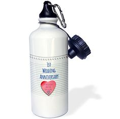 3dRose wb_154428_1 1St Wedding Anniversary GiftPaper Celebrating 1 Year TogetherFirst AnniversariesOne Yr Sports Water Bottle 21 oz White -- You can get additional details at the image link.Note:It is affiliate link to Amazon.