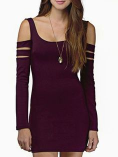 Shop Purple Cold Shoulder Slit Sleeve Bodycon Mini Dress from choies.com .Free shipping Worldwide.$18.99