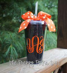 Black Glitter Halloween Monogram Tumbler Cup by ThePreppyPolkaDot, $16.50