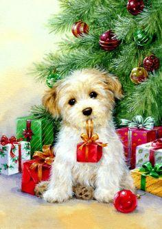 Christmas Scenery, Noel Christmas, Christmas Animals, Christmas Crafts, Christmas Tree Painting, Christmas Drawing, Illustration Noel, Christmas Illustration, Vintage Christmas Images