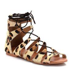 Sandalias planas estilo romanas, estampado de leopardo