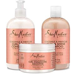 Shea Moisture Coconut and Hibiscus Combination Pack – 13 oz. Curl and Shine Shampoo, 13 oz. Curl and Shine Conditioner and 12 oz. Curl Enhancing Smoothie ** Read more at the image link. (This is an affiliate link) Thick Frizzy Hair, Curly Hair Care, Curly Hair Styles, Natural Hair Styles, Curly Girl, Girl Hair, Shea Moisture Conditioner, Good Shampoo And Conditioner, Curl Enhancing Smoothie
