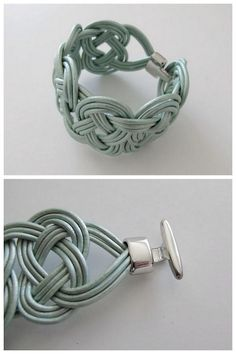 DIY Knotted Leather Bracelet Tutorial from Design and Form here.This is demonstrated using one cord.