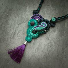 Soustache Teal-Purple-Green-Sea Foam Green-Necklace [Beautiful!]
