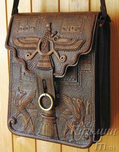 sumerian babylonian mesopotamian gorgeous leather work bag