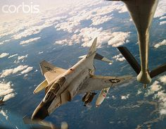 May 1966, South Vietnam A bomb laden U.S. Air Force F4C Phantom jet is shown here preparing to refuel from a U.S. Air Force KC-135 Tanker. --- Image by © Bettmann/CORBIS