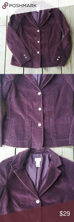 Beautiful L.L.Bean corduroy blazer NWOT Dark purple, lined, corduroy, size 0 NWOT L.L. Bean Jackets & Coats Blazers