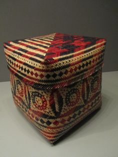 Double weave lidded river cane basket made by Chitimacha (Louisiana) weaver Melissa Darden