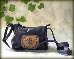 Leather bag, Crossbody bag,  Handbag,  Leather messenger bag,  bag with hand-painted, little bag,  dark blue - pinned by pin4etsy.com #CityRomance #Handbag #little_bag