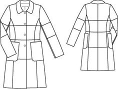 A nice dress coat. I wouldn't do all the sleeve in pieces, add them all together and do one sleeve and not do the bust line or hip line seams - only the waist seam. Coat Patterns, Sewing Patterns, Technical Drawing, Fabric Manipulation, Coat Dress, Sewing Clothes, Nice Dresses, Fashion Design, Style