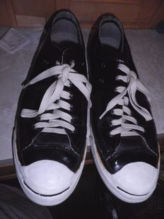 c8ce6fa565b1 Converse Jack Purcell Black Patent Leather Sneakers Size US Mens 10 5  WOMENS12