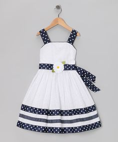 love the ribbon trim    White Eyelet Dress - Toddler & Girls