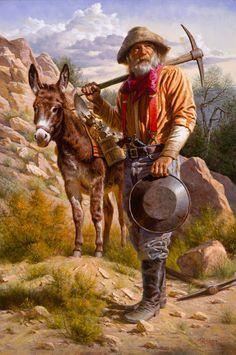 """er mundo de manué"": ALFREDO RODRIGUEZ, obras, cuadros, pinturas. West Art, American Indian Art, Native American Art, American Indians, Mountain Man, Cowboy Art, Western Cowboy, Mary Cassatt, Gold Miners"