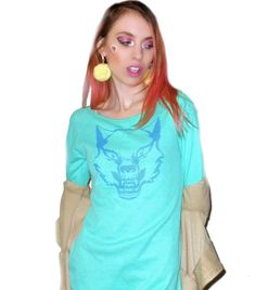 Long Sleeve Mint Green RAGING WOLF Thermal Shirt -- Available in sizes Small, Medium, and Large -- Screen Printed in Metallic Blue