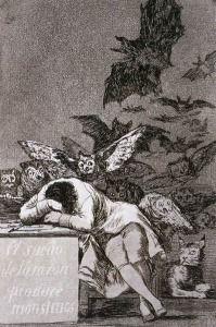 Kiedy rozum śpi, budzą się potwory[1] lub Gdy rozum śpi, budzą się demony, Kiedy rozum śpi, budzą się upiory (hiszp. El sueño de la razón produce monstruos) – rycina hiszpańskiego malarza Francisca Goi wykonana techniką akwaforty między 1797 a 1798 rokiem. Jest najbardziej znaną grafiką z cyklu Kaprysy (hiszp. Los Caprichos).               http://www.obieg.pl/files/images/0807150102.jpg