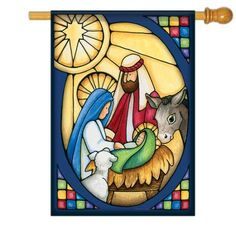 Stained Glass Nativity House Flag - x - 2 Sided Message Christmas Graphics, Christmas Clipart, Christmas Images, Christmas Art, Christmas Decorations, Christmas Ornaments, Christmas Holidays, Nativity House, Christmas Nativity Scene