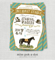 Belmont Stakes horse race Triple Crown party invitation by misspokadot on Etsy, $15.00