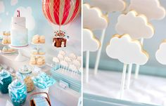 Our heads are in the clouds today with this sweet Hot Air Balloon themed dessert table that was styled by Belinda from Styled By Belle for a little boy's christening. Belinda chose a soft blue & white color palette with pops of red to bring in the red hot air balloon. Sweet treats on the dessert …