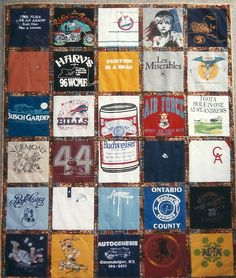 Large Icon separated by sashing on tshirt quilt.