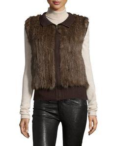 Find Gorski Sable Fur Knit Zip Vest, Brown Only at Modalist
