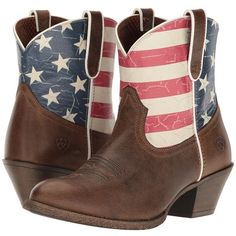 Ariat Old Glory Gracie (Distressed Brown/American Flag Print) Cowboy... ($140) ❤ liked on Polyvore featuring shoes, boots, ankle boots, short brown boots, leather cowgirl boots, brown boots, distressed leather boots and brown cowgirl boots