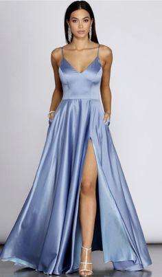 Pretty Prom Dresses, Prom Dresses Blue, Dance Dresses, Elegant Dresses, Cute Dresses, Beautiful Dresses, Satin Dresses, Windsor Dresses Prom, Simple Prom Dress