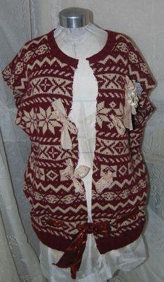 Vintage Wool Sweater Embellished VestGyspy Boho by Ramblinrose67, $35.00