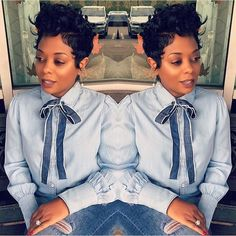 These relaxed black hairstyles are trendy. Short Sassy Hair, Short Hair Cuts, Pixie Cuts, Dope Hairstyles, Black Women Hairstyles, Hair Game, Cute Cuts, Short Styles, Quites