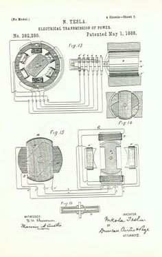Nikola Tesla's patent for electrical transmission of power which is based on Rotating Magentic Field principle, 1888