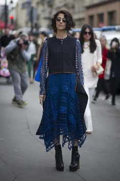 Best Street Style Looks of 2014 --- There's something inherently special about Yasmin Sewell's bright blue eyelet.