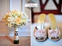 Peach and ivory roses wedding bouquet