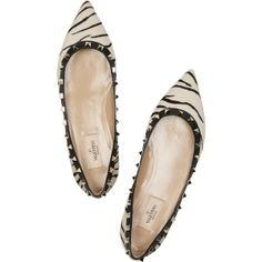 Valentino. cute to death! | Animal Print zebra flats shoes found on Polyvore