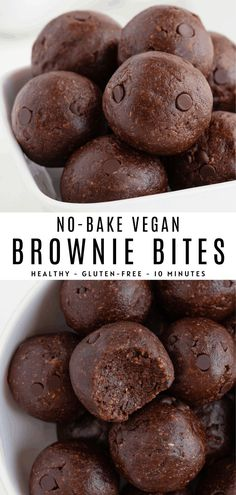 No bake brownie bites are fudgy vegan gluten-free and secretly healthy! These easy chocolate energy balls are made with dates almonds walnuts and cacao powder. Perfect for a healthy dessert or post-workout snack! Healthy Sweet Snacks, Healthy Sweets, Healthy No Bake, Healthy Food, Healthy Chocolate Snacks, Eating Healthy, Protein Snacks, Easy Vegan Snack, Healthy Gluten Free Snacks
