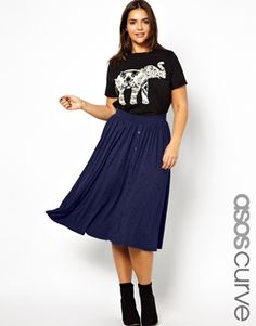 Image 1 of ASOS CURVE Exclusive Skater Skirt In Longer Length With Button Front